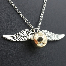HOMOD Fashion Harry Potter Necklace Men Vintage Style Angel Wing Charm Golden Snitch Pendent Necklace For Men Necklace(China)
