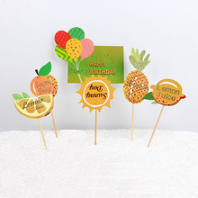 New Pineapple Lemon Balloons Cupcake Topper Cake Fruit Topper Wedding Children's Birthday Party Decor Cake Decoration Supplies(China)