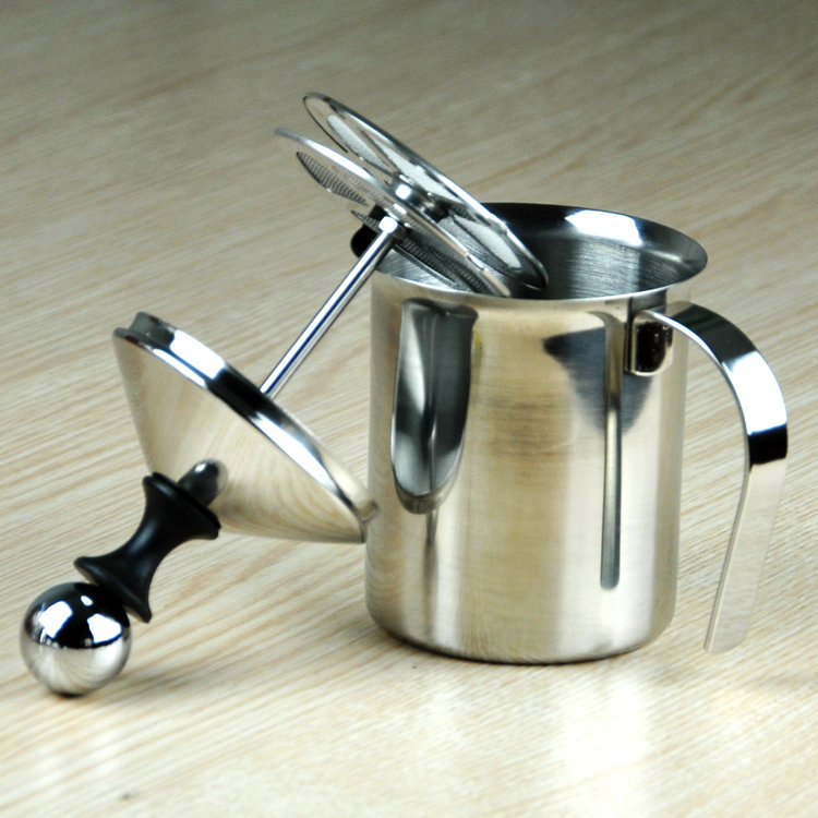 Manual  Milk Bubble Foam Maker  Stainless Steel Bilayer Whipped Device 400cc <br>