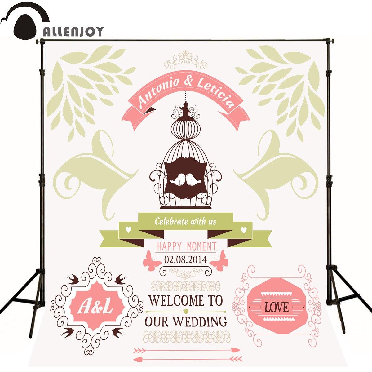 Allenjoy Photographic background Love Birdcage Butterfly Romance original design wedding custom vinyl backdrops for photography<br>