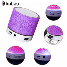 Mini Colorful Bluetooth Speakers LED Lights Column Crack Pattern Portable Wireless Loudspeakers Smart Stereo Bluetooth Receiver(China)