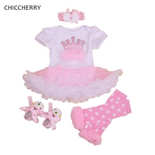Crown Princess Baby Girl Birthday Outfits Toddler Lace Romper Dress Headband Leg Warmers Set Wedding Roupas Infant Tutu Dress