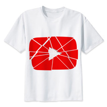 Youtuber t shirt men Summer print T Shirt boy short sleeve with white color Fashion Top Tees MR1268(China)