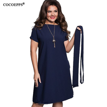COCOEPPS Elegant Casual women blue dresses big sizes NEW 2017 plus size women clothing Summer style o-neck bodycon Chiffon Dress(China)
