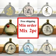 Wholesale Glass Dome Necklace Vintage Bicycle Necklace High Wheel Bicycle Pendant Art Glass Necklace