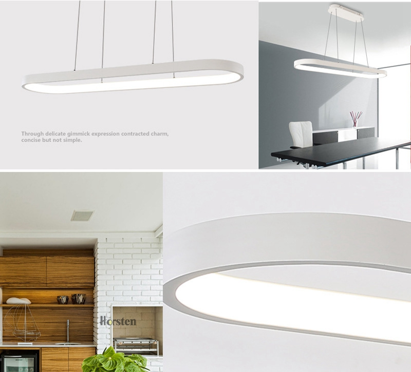 Modern Minimalism Oval Ring LED Pendant Lights Aluminum Acrylic Suspension Hanging Lamps For Dining Room Restaurant Office (3)