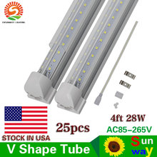 Sunway led tube lamp commercial freezer t8 v-shaped 4ft led tube light cooler door 1200mm 4 ft led tube lights AC85-265V 28W