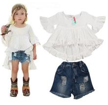 Hot style Baby girls suit fashionable dovetail knit skirt dress + jeans pants of the girls kids clothes