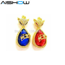 32GB 16GB 8GB 4GB Crown Heart USB 2.0 Flash Pen Drive 2GB Jewelry Diamond Flash Memory Stick USB Flash Drive