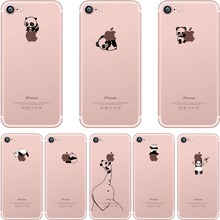 ciciber phone cases Lovely interesting animal pandas design Clear soft silicone TPU case cover for iphone 6 6S 7 8 plus 5S SE X(China)