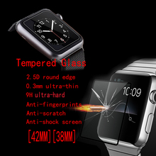 Tempered Glass Protector Apple Watch 42MM 38MM full Screen Cover / Normal freeshipping - FENGHEMEI MOBILE PHONE ACCESSORIES Store store