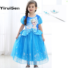 Baby Girl Elsa Costume Princess Dress Toddlers with Gloove Snow Clothes Dress Girls Elza Girls Costume Girls Party Clothing(China)