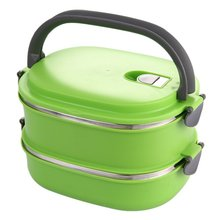 Insulated Lunch Container Stainless Steel Food Storage Container Thermo Server Essentials Thermal Double Layer Green(China)