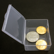 5PCS/lot Clear Collection Coin Box Jewelry Container Case Store Clear Plastic Transparent With Lid Storage Box