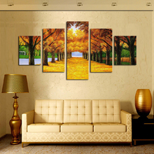 5 Panels Nature Yellow Golden Trees Canvas Print Painting Home Decor Wall Art Picture For Living Room Modular picture (Unframed)