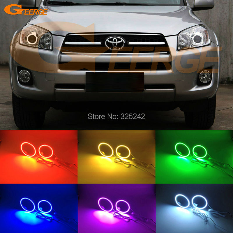 For Toyota RAV4 2009 2010 2011 2012 PROJECTOR HEADLIGHT Excellent Multi-Color Ultra bright RGB LED Angel Eyes kit Halo Rings<br>