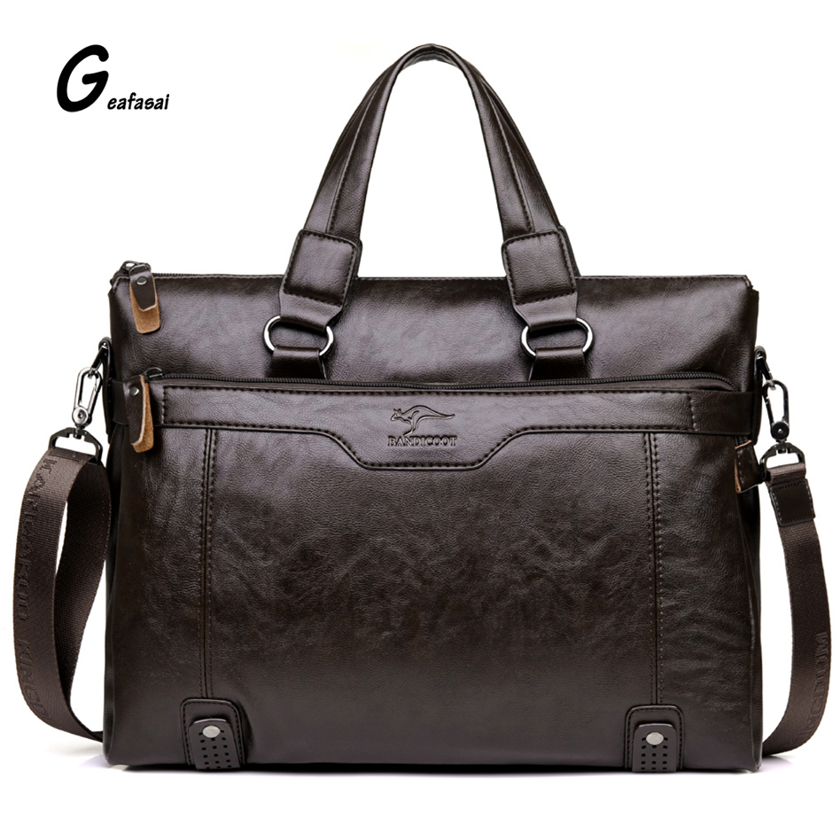 COUPON fashion solid brown casual high quality brand leather Men Business Handbag Briefcase Messenger shoulder bags classical PU<br><br>Aliexpress