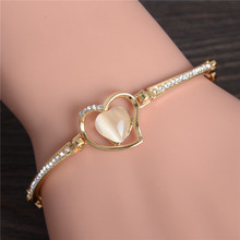Fashion Jewelry Pulseiras Femininas Bracelets For Women Cat's Eye Heart Crystal Charms Wholesale Gold Color Bracelet & Bangles