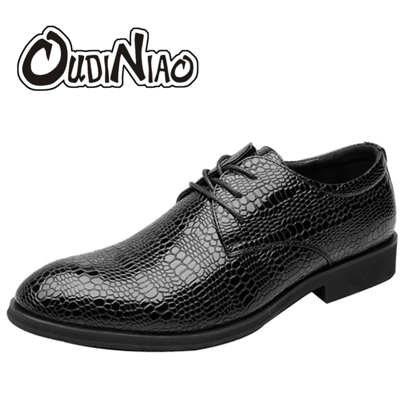 OUDINIAO Mens Shoes Casual Snake Skin Designer Lace Up Big Size Casual Dress Shoes Men Alligator Luxury Solid Mens Shoes 2018<br>