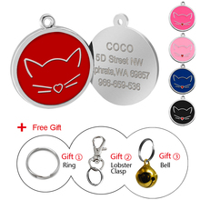 Custom Cat Tag Personalized Engraved Dog ID Tags Pet Collar Pendant For Kitten Puppy With Free Bell Gift