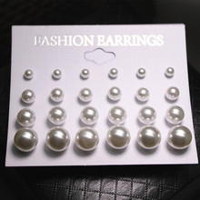 Wholesale High Quality Cheap Jewelry Accessories, White Pearl Stud Earrings 4mm/6mm/8mm/10mm Mix Size Earrings For Women XLL028