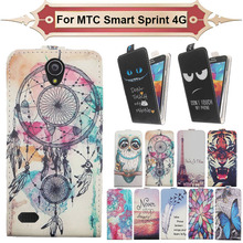 Top Selling 11 Colors Cartoon Pattern Up and Down Flip PU Leather Case For MTC Smart Sprint 4G