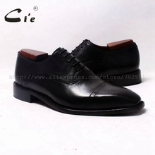 cie Square Cap Toe Oxfords Black 100%Genuine Calf Leather Outsole Breathable Leather men Shoe Bespoke Leather shoe HandmadeOX343(China)
