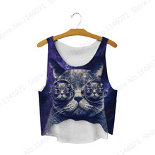 Cat With Sunglass Kitty Crop Tank Top Loose Beach Tee Shirt Short Midriff-Baring Camis Ladies Sleeveless Vest Blouses Navy Blue