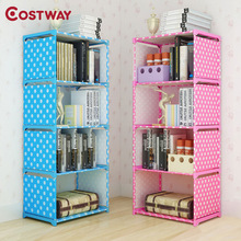 COSTWAY Fashion Simple Non-woven Bookshelves Four-layer Dormitory Bedroom Storage Shelves Bookcase Boekenkast Librero W0116