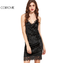 COLROVIE Slip Dress Womens Sexy Dresses Party Night Club Dress Black Lace Trim Velvet Cami Bodycon Dress
