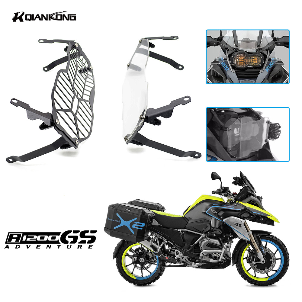 R QIANKONG Clear &amp; black High quality Motor Headlight Grill Cover Headlamp Protector Guard For BMW R1200GS ADV 2013-14 2015 2016<br>