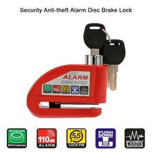 Red Bicycle Anti-theft Alarm Lockers Motorcycle Scooter Disc Brake Lock Security(China)
