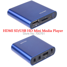 5pcs Mini HDMI SD/USB Host HD Media Player 1080P AV audio output car media player support MKV/RM/RMVB with Remote Control