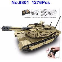 9801 1276pcs Military RC M1A2 Tank 50M Distance Can Rotate Launch Building Block Brick Toy(China)