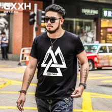 GXXH HOT Oversized Men Style T Shirt Front Print Triple Triangle Plus Size Bands Casual Tee Big and Tall King Size 5xl 6xl 7XL