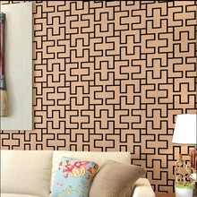 new hot wallpaper Chinese style restoring ancient ways porch brown small grid wall paper sitting room bedroom TV setting wall