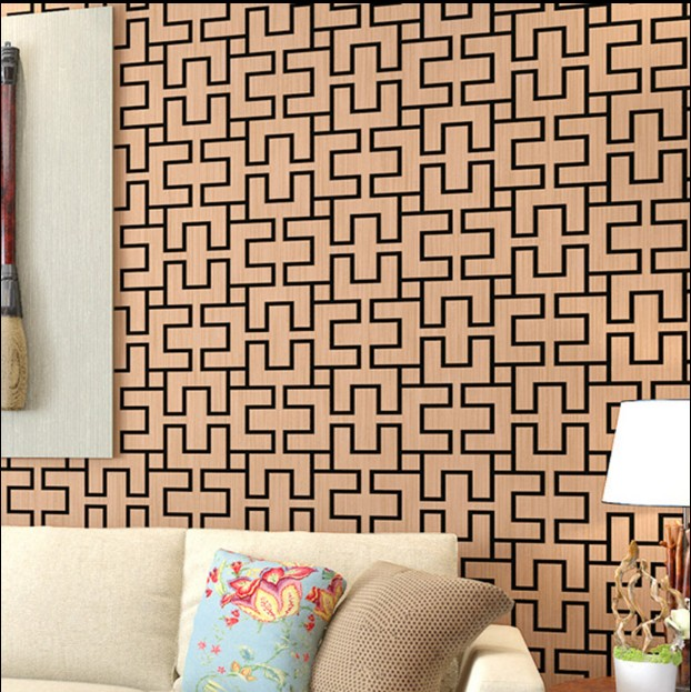 new hot wallpaper Chinese style restoring ancient ways porch brown small grid wall paper sitting room bedroom TV setting wall<br>