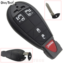 OkeyTech Newest Car-Styling 4+1 Buttons Remote Car Smart Key Covers for Chrysler Dodge for Jeep Key Replacements Fobs auto key(China)