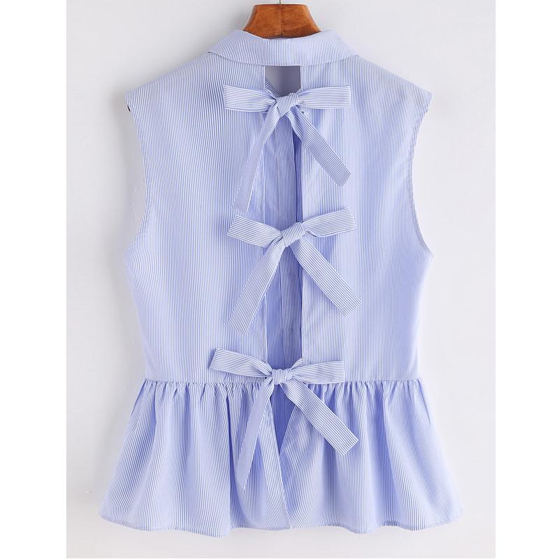 Blue Striped Bow Tie Split Back Blouse Women 2017 Summer Sleeveless Ruffles Blouses Shirts Women Vintage Tops Blusas Female 1