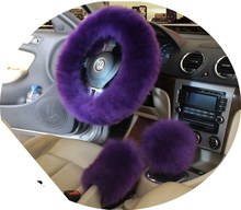 "Winter Warm Wool Handbrake Cover Gear Shift Cover Steering Wheel Cover 38cm 14.96""x 14.96"" 1 Set 3 Pcs Purple Gray Gold Brown"