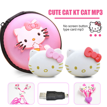 Fashion Mini Hello Kitty MP3 Music Player Support TF Card Mini Clip MP3 Player+Hello Kitty Earphone+Mini USB+Hello kitty bag(China)