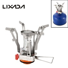 Lixada 3000W Camping Gas Stove Super Lightweight Mini Pocket Outdoor Cooking Burner Folding Outdoor Stove Gas Stove with B