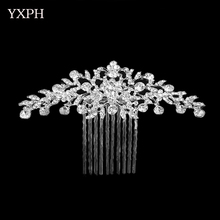 YXPH Clear Rhinestone Crystals Wedding Bride Bridal Floral Hair Comb Head Pieces Hair Pins Jewelry Accessories For Women FS046(China)