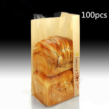 100pcs Stand heat sealing one side kraft paper one side clear bags Don't lose colour No pollution pack bread pouches