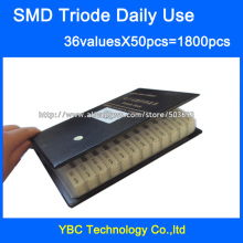 Daily Use SMD Transistor Sample Book 36valuesx50pc=1800pcs Triode Assorted Kit S9012 SS8050 BAV70 2N5551 SI2300 BAT54A TL431 etc