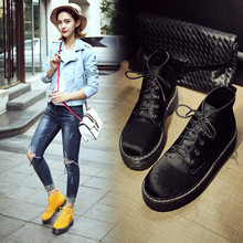 Shoes Woman Ankle Boots Nucbuck Leather Casual Lace Up Autumn Winter Boots Female Cowboy Booties Black Yellow Snow Boots