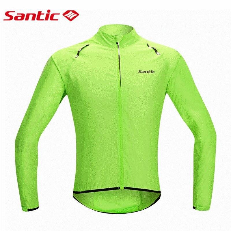 Santic Mens Cycling Windcoat Wind Coat Bicycle Jerseys Bike Raincoat Windproof Biker Waterproof Skin Coat for Man Green S-XXXL<br>