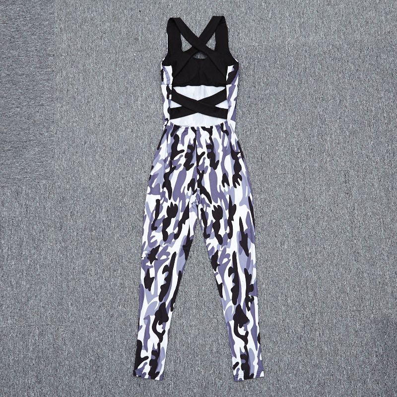 2017 Fashion Camouflage Sexy Sporting, European Women's New Backless Casual Jumpsuit, Bodysuit 15