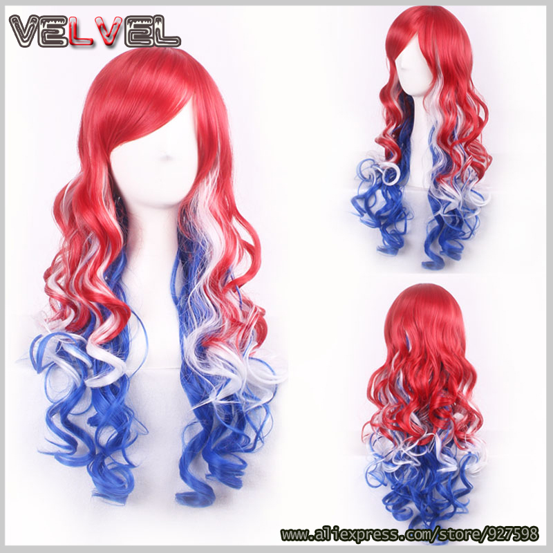 Fashion Cute Lolita White Blue Red Multi-colored Wig Long Curly Heat Resistant Synthetic Ombre Women Hair Wigs+Free wig cap<br><br>Aliexpress