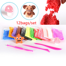 12bags snow modeling Clay DIY Slime Nontoxic Malleable Fimo Polymer Clay Play dough Pearl Snow Mud educational Toys For Children(China)